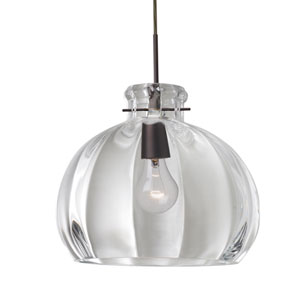 Pinta 12 Bronze One-Light Flat Canopy 120v Midi Pendant with Clear Glass