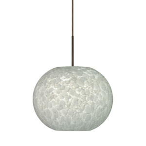 Luna Bronze One-Light Dome Pendant with Carrera Glass