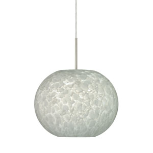 Luna Satin Nickel One-Light Dome Pendant with Carrera Glass