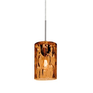 Cruise Satin Nickel One-Light Mini Pendant with Amber Glass