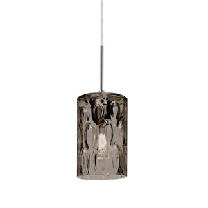 Cruise Satin Nickel One-Light Mini Pendant with Smoke Glass