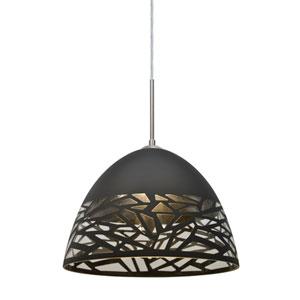 Kiev Satin Nickel One-Light LED Mini Pendant with Black Shade