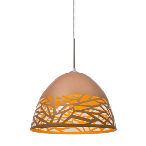 Kiev Satin Nickel One-Light LED Mini Pendant with Copper Shade