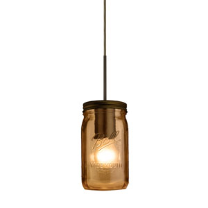 Milo Bronze One-Light Flat Canopy 120v Midi Bell Jar Pendant with Amber Glass