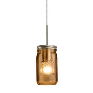 Milo Satin Nickel One-Light Flat Canopy 120v Midi Bell Jar Pendant with Amber Glass