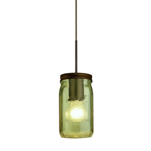 Milo Bronze One-Light Flat Canopy 120v Midi Bell Jar Pendant with Green Glass
