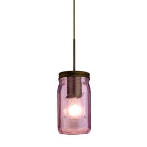 Milo Bronze One-Light Flat Canopy 120v Midi Bell Jar Pendant with Purple Glass