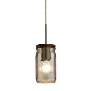 Milo Bronze One-Light Flat Canopy 120v Midi Bell Jar Pendant with Smoke Glass