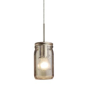 Milo Satin Nickel One-Light Flat Canopy 120v Midi Bell Jar Pendant with Smoke Glass