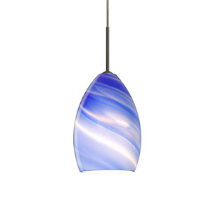 Euka Bronze One-Light Mini Pendant with Blue Twist Glass