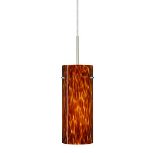 Stilo 10 Satin Nickel One-Light LED Mini Pendant with Amber Cloud Glass, Flat Canopy
