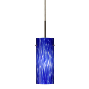 Stilo 10 Bronze One-Light LED Mini Pendant with Blue Cloud Glass, Flat Canopy