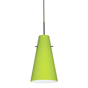 Cierro Bronze One-Light LED Mini Pendant with Chartreuse Glass