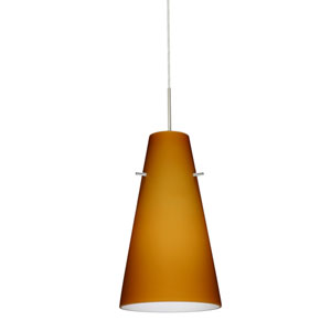 Cierro Satin Nickel One-Light LED Mini Pendant with Amber Matte Glass