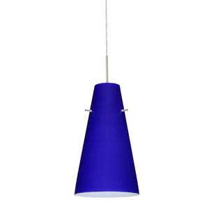 Cierro Satin Nickel One-Light LED Mini Pendant with Cobalt Blue Matte Glass