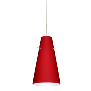 Cierro Satin Nickel One-Light LED Mini Pendant with Ruby Matte Glass
