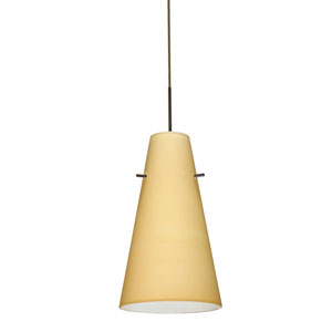 Cierro Bronze One-Light LED Mini Pendant with Vanilla Matte Glass