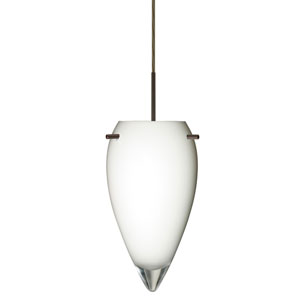 Juli Bronze One-Light LED Mini Pendant with Opal Glossy Glass, Flat Canopy