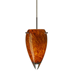 Juli Bronze One-Light LED Mini Pendant with Amber Cloud Glass, Flat Canopy