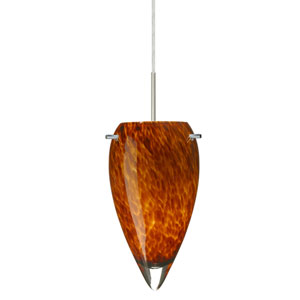 Juli Satin Nickel One-Light LED Mini Pendant with Amber Cloud Glass, Flat Canopy