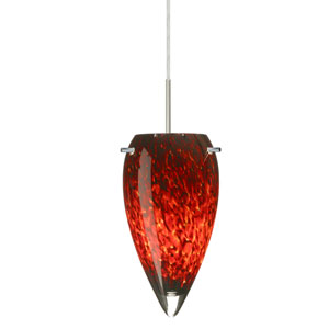 Juli Satin Nickel One-Light LED Mini Pendant with Garnet Glass, Flat Canopy
