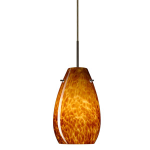 Pera 9 Bronze One-Light LED Mini Pendant with Amber Cloud Glass, Flat Canopy