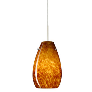 Pera 9 Satin Nickel One-Light LED Mini Pendant with Amber Cloud Glass, Flat Canopy