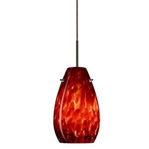 Pera 9 Bronze One-Light LED Mini Pendant with Garnet Glass, Flat Canopy