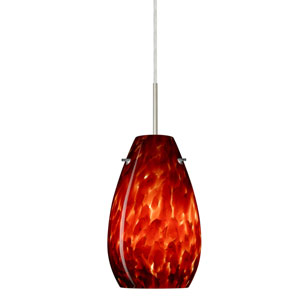 Pera 9 Satin Nickel One-Light LED Mini Pendant with Garnet Glass, Flat Canopy