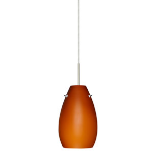 Pera 9 Satin Nickel One-Light LED Mini Pendant with Amber Matte Glass, Flat Canopy