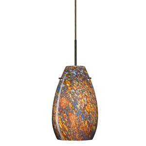 Pera 9 Bronze One-Light LED Mini Pendant with Ceylon Glass, Flat Canopy