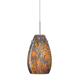 Pera 9 Satin Nickel One-Light LED Mini Pendant with Ceylon Glass, Flat Canopy