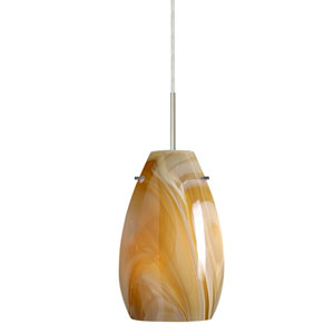 Pera 9 Satin Nickel One-Light LED Mini Pendant with Honey Glass, Flat Canopy