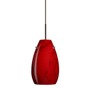 Pera 9 Bronze One-Light LED Mini Pendant with Magma Glass, Flat Canopy
