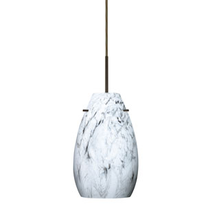 Pera 9 Bronze One-Light LED Mini Pendant with Marble Grigio Glass, Flat Canopy