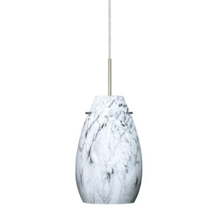 Pera 9 Satin Nickel One-Light LED Mini Pendant with Marble Grigio Glass, Flat Canopy