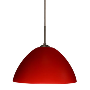 Tessa Bronze 10.One-Light LED Pendant with Red Matte Glass, Flat Canopy