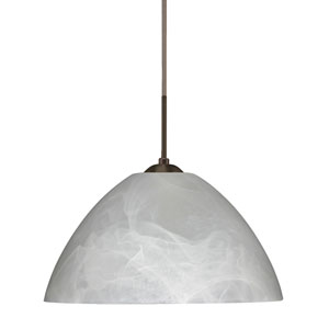 Tessa Bronze 10.One-Light LED Pendant with Marble Glass, Flat Canopy