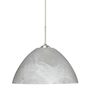 Tessa Satin Nickel 10.One-Light LED Pendant with Marble Glass, Flat Canopy