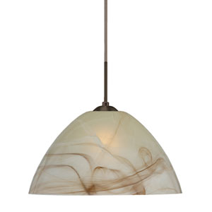Tessa Bronze 10.One-Light LED Pendant with Mocha Glass, Flat Canopy