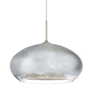 Brio 14 Satin Nickel 1One-Light LED Pendant with Silver Foil Glass, Flat Canopy