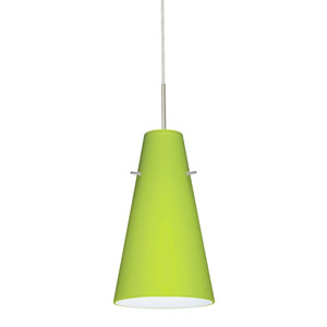 Cierro Satin Nickel One-Light Mini Pendant with Chartreuse Glass