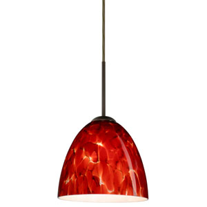 Vila Bronze One-Light LED Mini Pendant with Garnet Glass