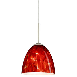 Vila Satin Nickel One-Light LED Mini Pendant with Garnet Glass