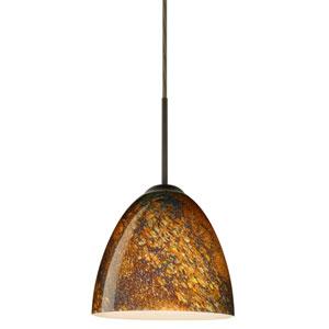 Vila Bronze One-Light LED Mini Pendant with Ceylon Glass