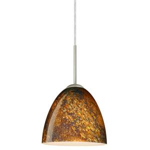Vila Satin Nickel One-Light LED Mini Pendant with Ceylon Glass