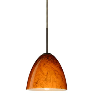Vila Bronze One-Light LED Mini Pendant with Habanero Glass