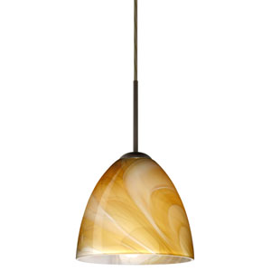 Vila Bronze One-Light LED Mini Pendant with Honey Glass