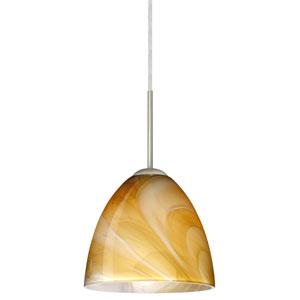 Vila Satin Nickel One-Light LED Mini Pendant with Honey Glass