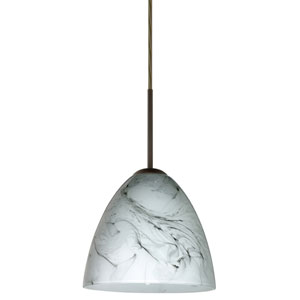Vila Bronze One-Light LED Mini Pendant with Marble Grigio Glass